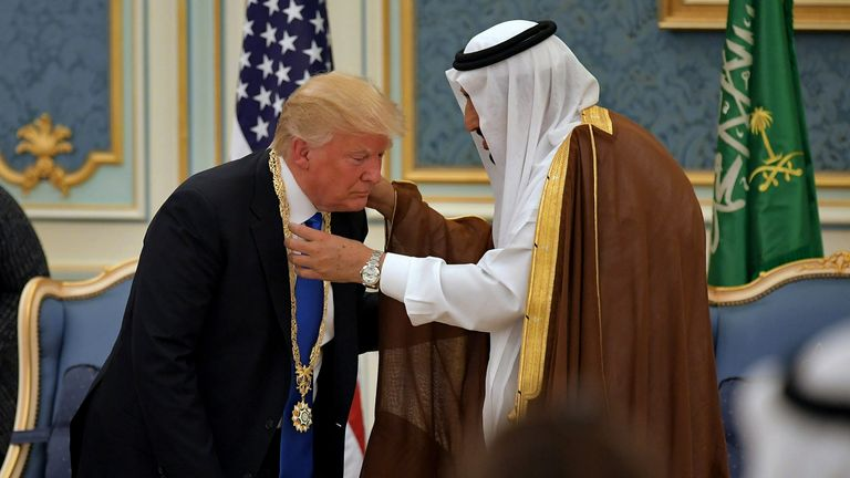 Donald Trump receives the Order of Abdulaziz al Saud medal
