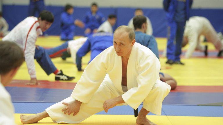 Vladimir Putin takes part in a judo training session