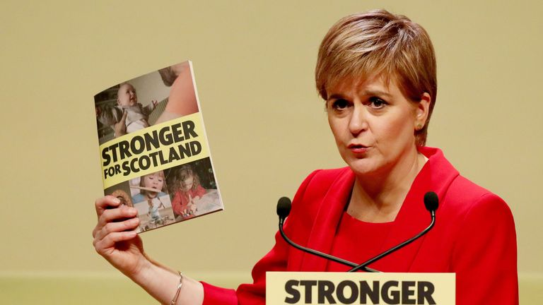 First Minister Nicola Sturgeon speaks during the launch of the SNP General Election manifesto