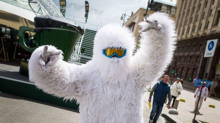 A Eurovision mascot at the Kiev International Exhibition Centre