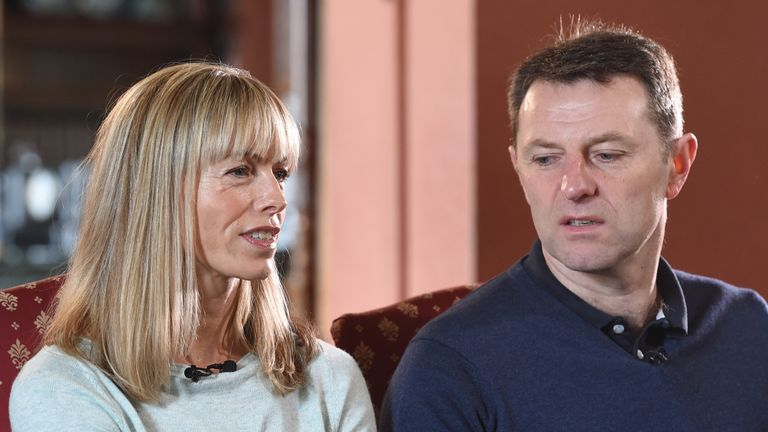Kate and Gerry McCann, whose daughter Madeleine disappeared from a holiday flat in Portugal ten years ago, are seen during an interview with the BBC's Fiona Bruce at Prestwold Hall on April 28, 2017