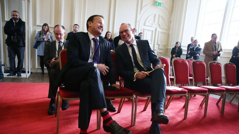 Minister for Social Protection Leo Varadkar (left) and Minister for Housing Simon Coveney at the All-Island Civic Dialogue on Brexit at the Royal Hospital Kilmainham in Dublin.