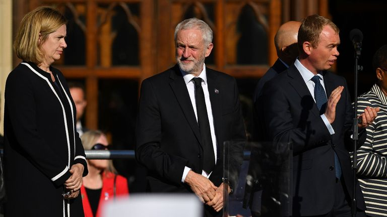 Home Secretary Amber Rudd (L), Labour leader Jeremy Corbyn (C) and Lib Dem leader Tim Farron (R) took part