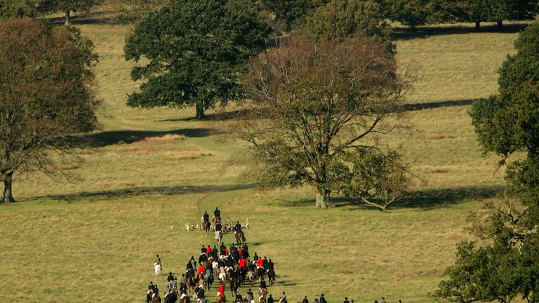 Hunters set off on a hunt on November 5, 2005 in Petworth, England.
