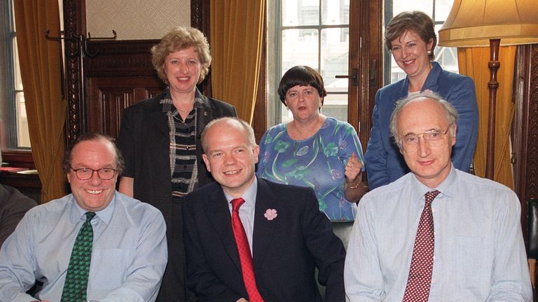 Theresa May with other members of William Hague's shadow cabinet in 1999