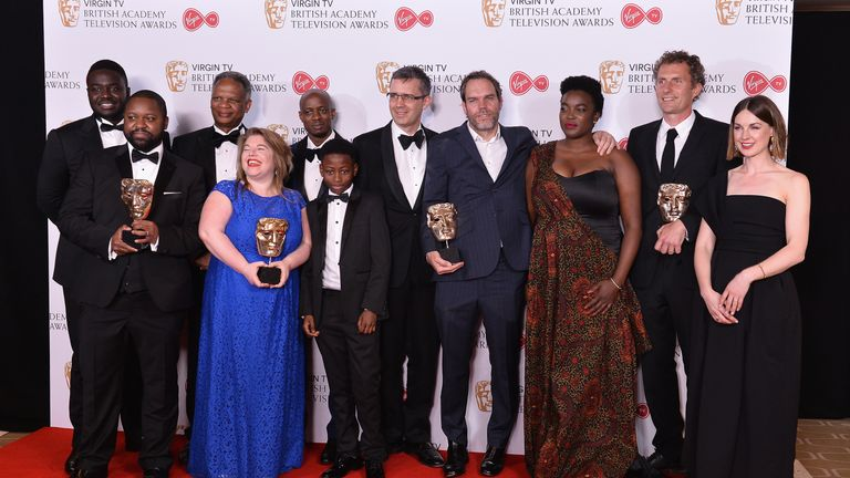 The cast of Damilola, Our Loved Boy, which won Single Drama and Supporting Actress BAFTAs