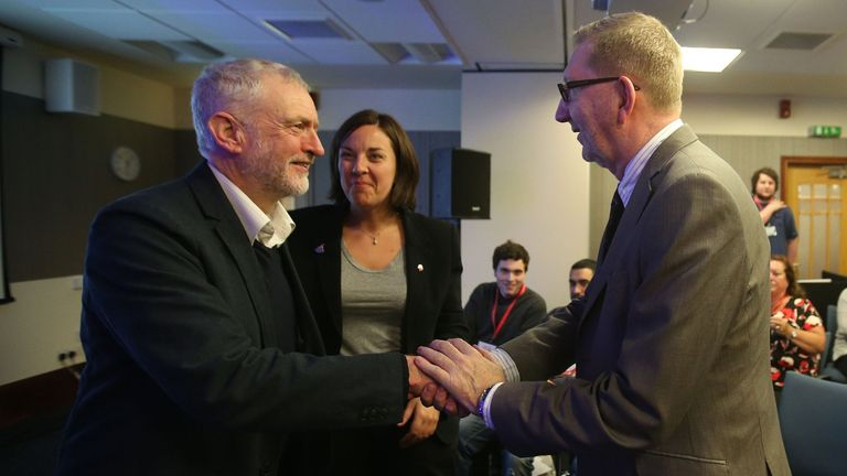File photo dated 16/01/16 of Labour party leader Jeremy Corbyn (left) with Scottish Labour Party leader Kezia Dugdale and General Secretary of Unite Len McCluskey