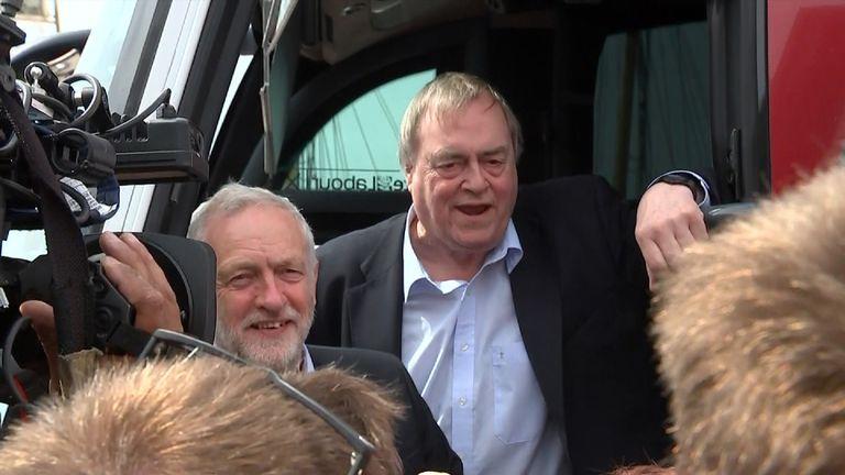 John Prescott joins Jeremy Corbyn on the election campaign trail