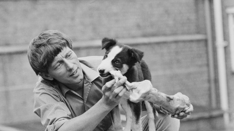 John Noakes with his faithful companion Shep in 1971