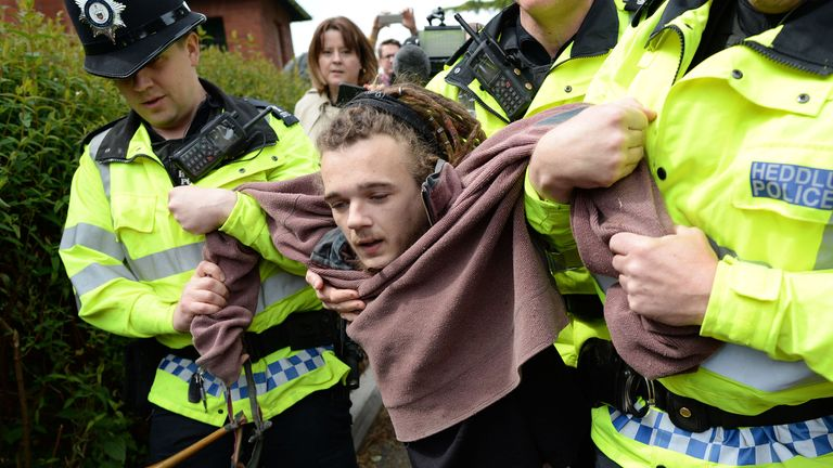 A man is arrested after protesting against fox hunting in Wrexham