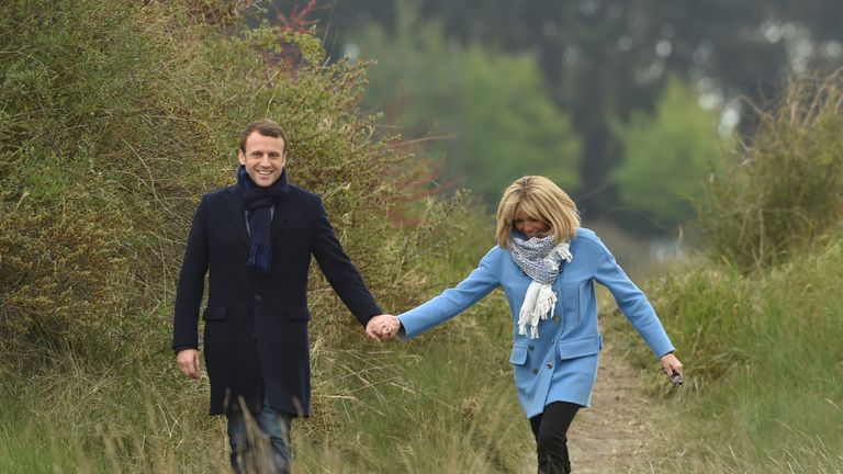 Emmanuel Macron and his wife Brigitte Trogneu