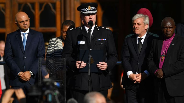 "Greater Manchester Police's Ian Hopkins described the crime as ""an unthinkable act"" as Communities Secretary Sajid Javid (L), Speaker John Bercow and Archbishop of York John Sentamu look on."