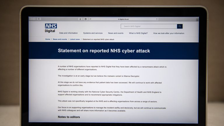 A message informing visitors of a cyberattack is displayed on the NHS website