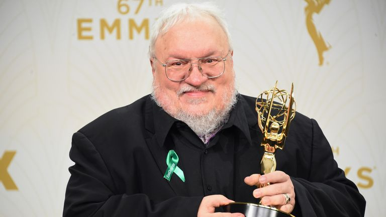 Writer George R. R. Martin, winner of Outstanding Drama Series for Game of Thrones