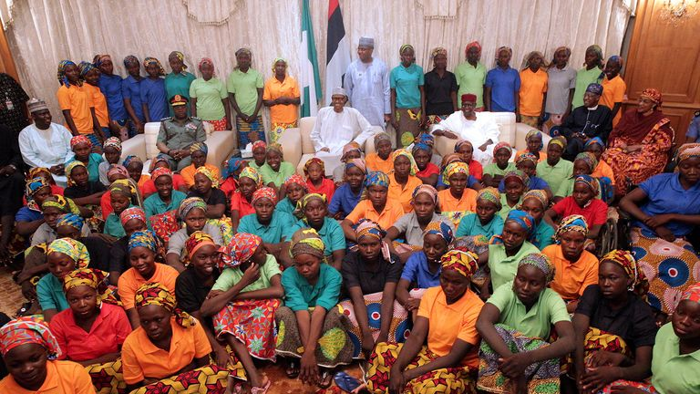 President Buhari and freed Chibok girls