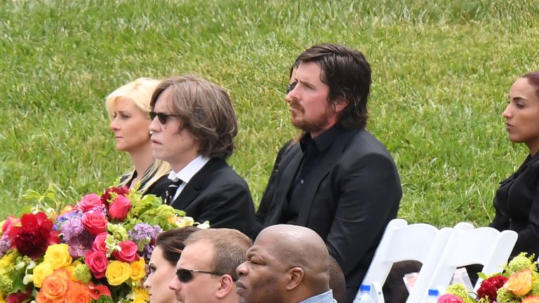 Actor Christian Bale attends the funeral and memorial service for Soundgarden frontman Chris Cornell