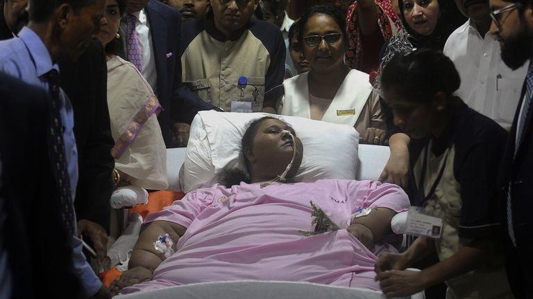 Eman Ahmed preparing to leave hospital in Mumbai