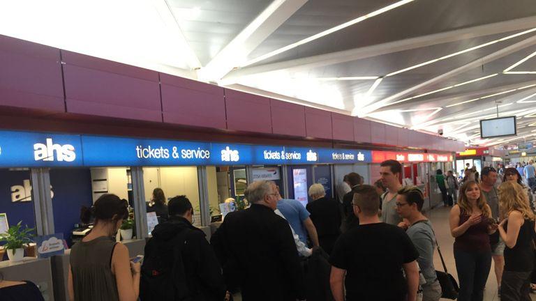 The scene in Berlin where BA passengers are stranded. Picture: Simon Bucks