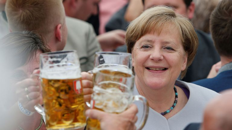Angela Merkel made the comments during a campaign stop in a Bavarian beer tent in Munich