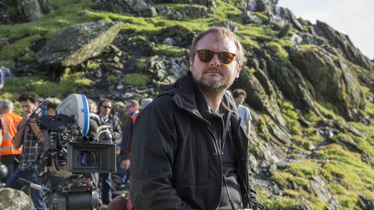 Rian Johnson on the set of The Last Jedi