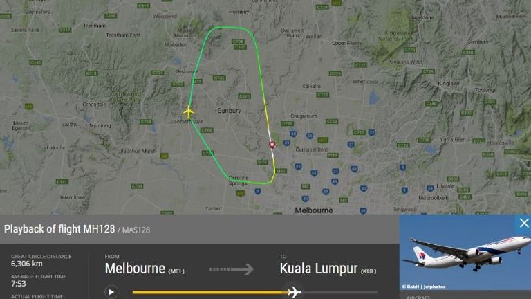 Flightradar said MH128 landed after being airborne after 14 minutes