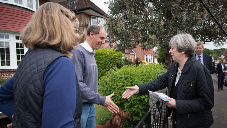 Theresa May meets residents during a visit to Southampton on the campaign trail