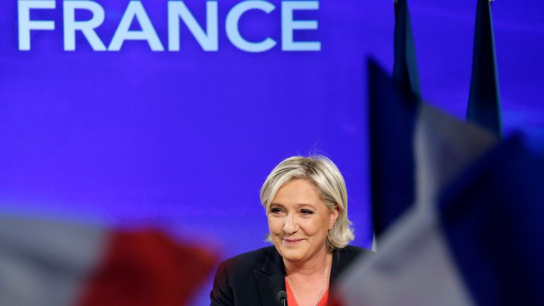 French presidential election candidate for the far-right Front National (FN) party, Marine Le Pen