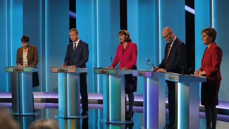 Party leaders at the ITV debate