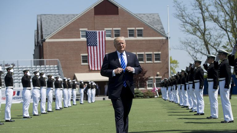 Donald Trump arrives at the US Coast Guard Academy Commencement Ceremony