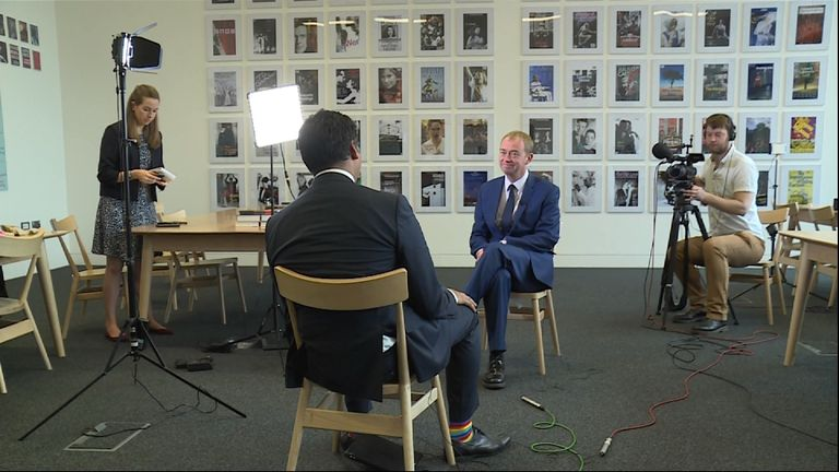 Tim Farron talks to Sky's Political Editor Faisal Islam on the day the Liberal Democrats launched their 2017 manifesto
