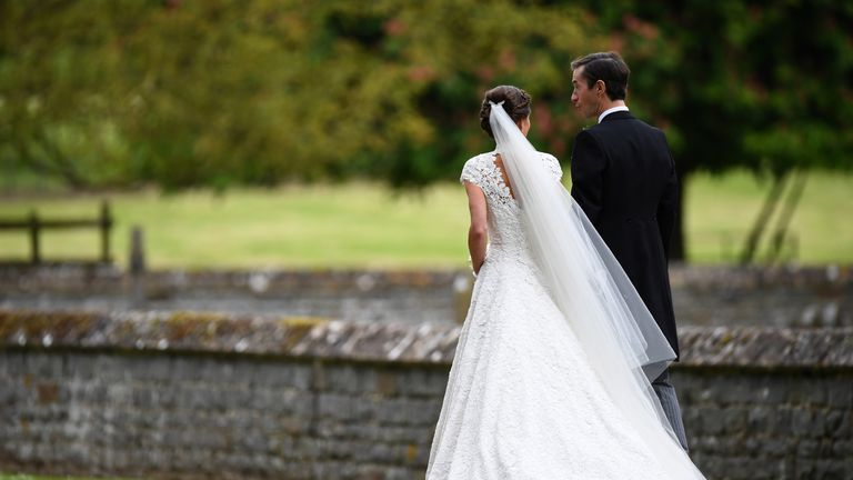Pippa Middleton and James Matthews leave the church