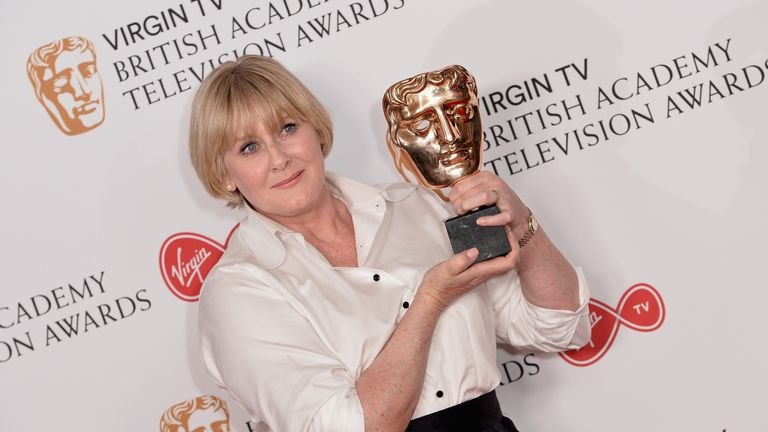 Sarah Lancashire with her Leading Actress award for Happy Valley, which also won the Drama Series award