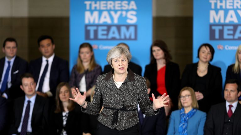 Theresa May on the campaign trail in Yorkshire