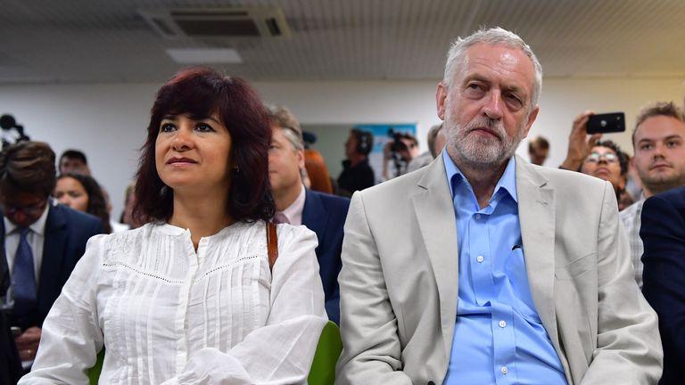 Jeremy Corbyn and wife Laura Alvarez