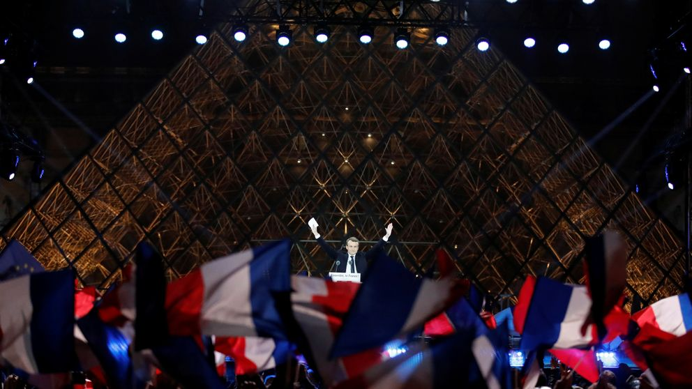 Emmanuel Macron  celebrates the election win at a rally at the Louvre