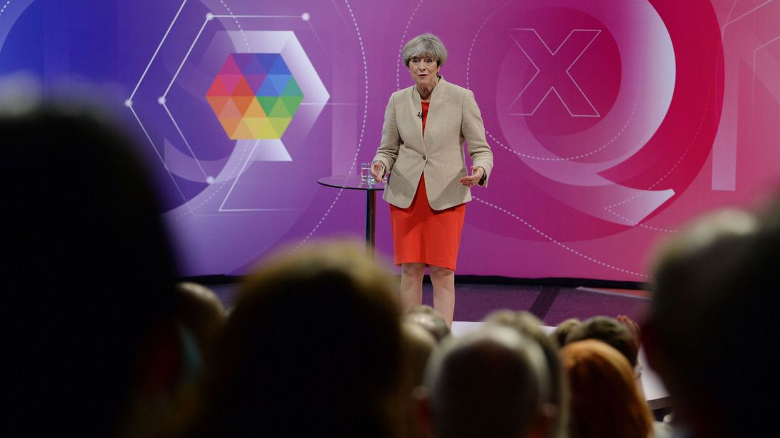 Prime Minister Theresa May taking part in BBC1's Question Time Leaders Special
