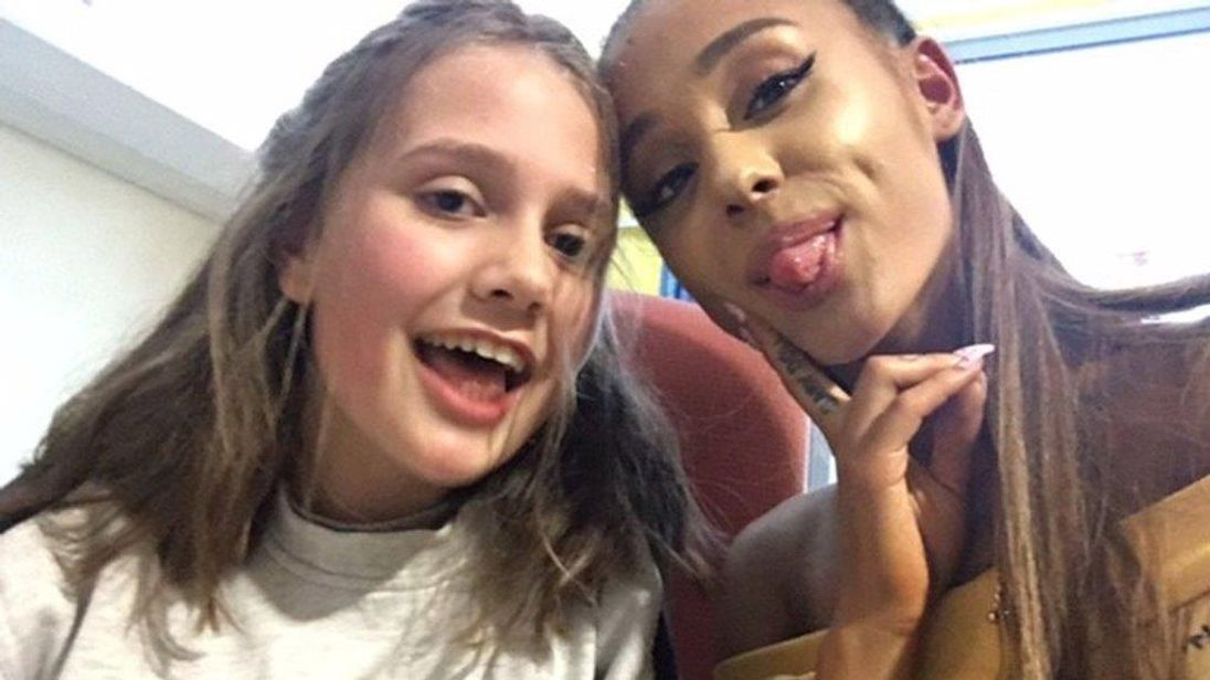Ariana Grande met 14-year-old Evie Mills from Harrogate who was injured in the attack. Pic: Karen Mills/PA Wire