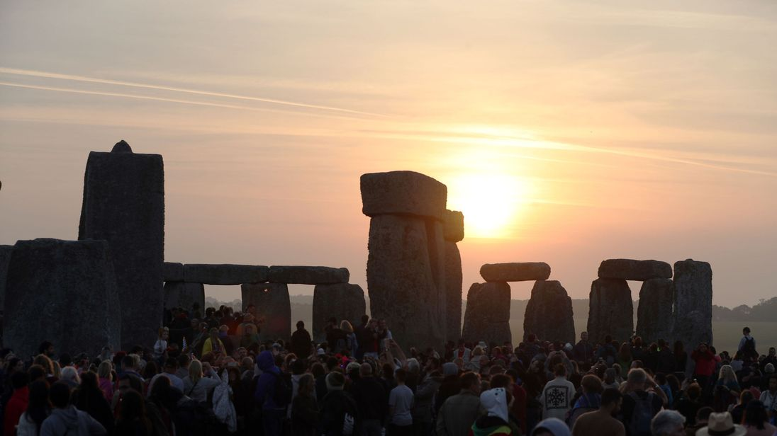 The sun rises at Stonehenge on the summer solstice