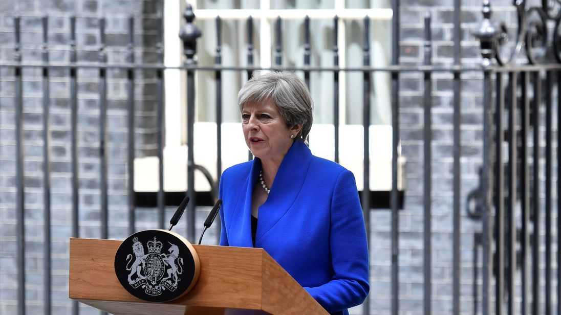 Theresa May delivers a statement outside 10 Downing Street