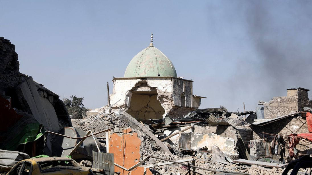 The ruined Grand al-Nuri Mosque is seen after it was retaken by the Iraqi forces from the Islamic State militants at the Old City