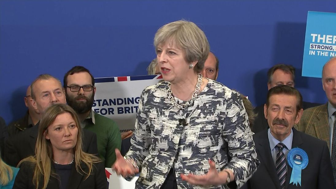 Theresa May addresses crowds on the last day of the General Election campaign
