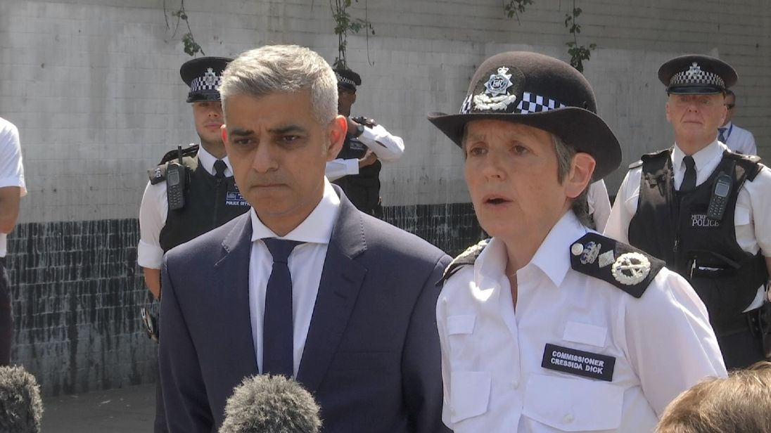 Sadiq Khan and Cressida Dick speak at scene of terror attack in Finsbury Park