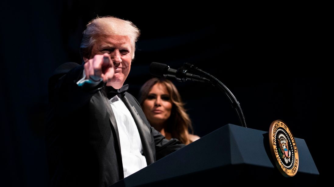 US President Donald Trump speaks during Ford's Theatre's annual fundraiser at Ford's Theater June 4, 2017 in Washington, DC.