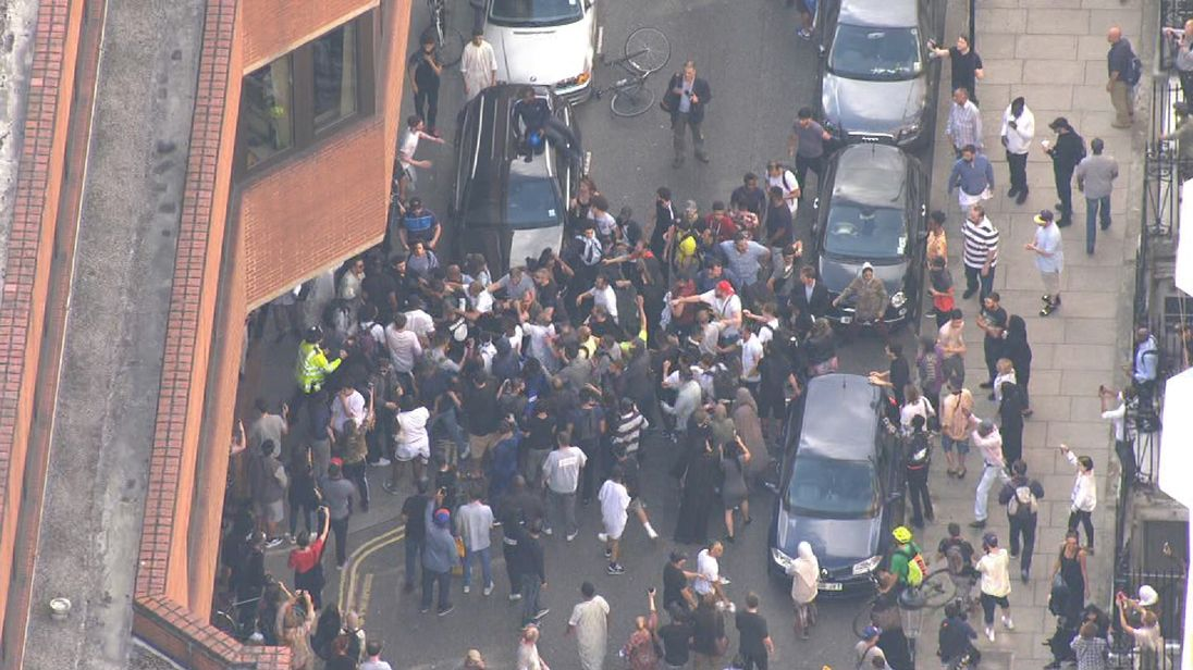 Scuffles break out in street outside Kensington Town Hall following protests over the council's handling of the Grenfill Tower fire