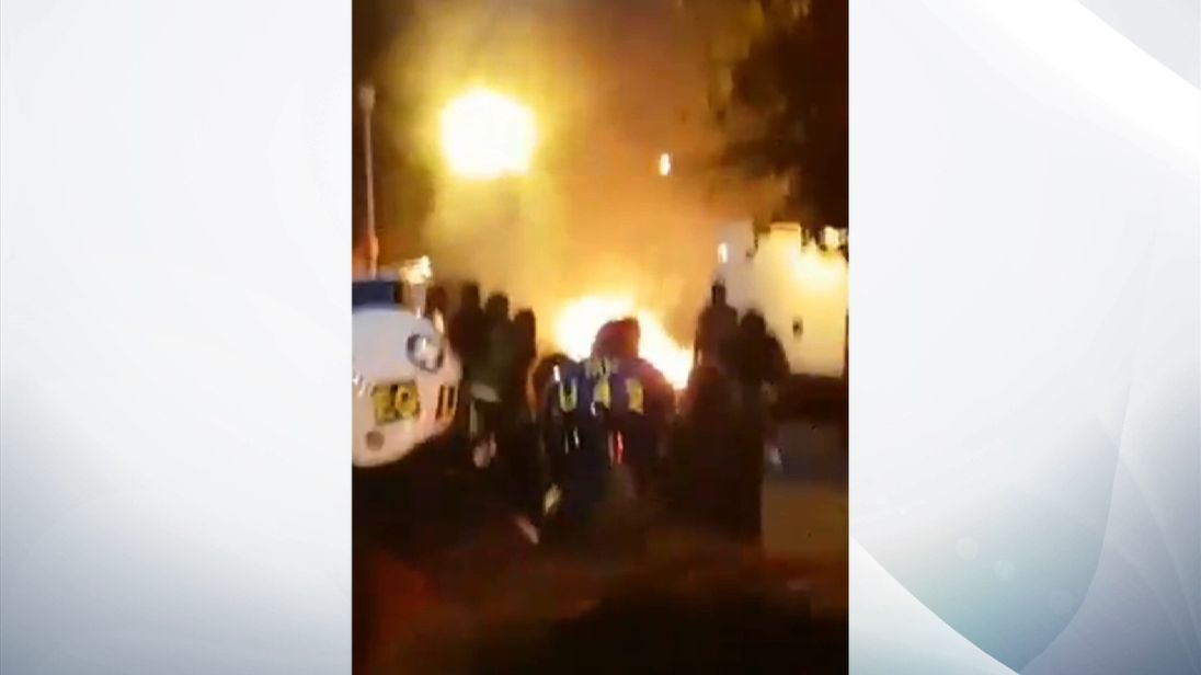 Fires lit as demonstrators and police clash