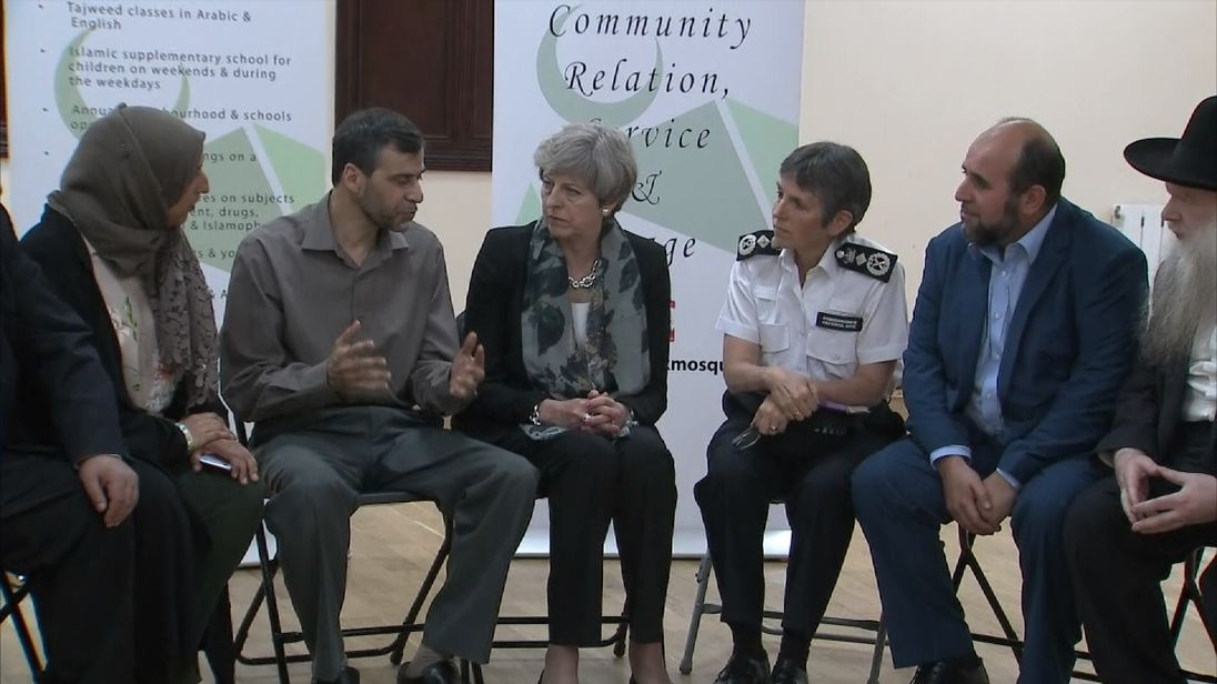 Theresa May meeting with religious and community leaders during her visit to Finsbury Park Mosque
