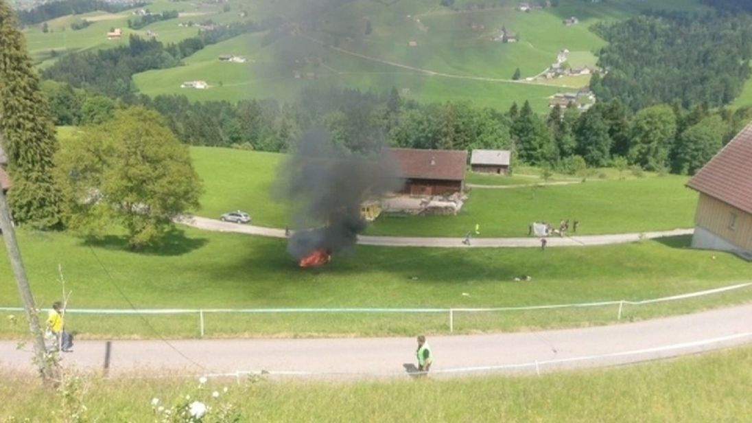 The crash site near St Gallen seen from the air