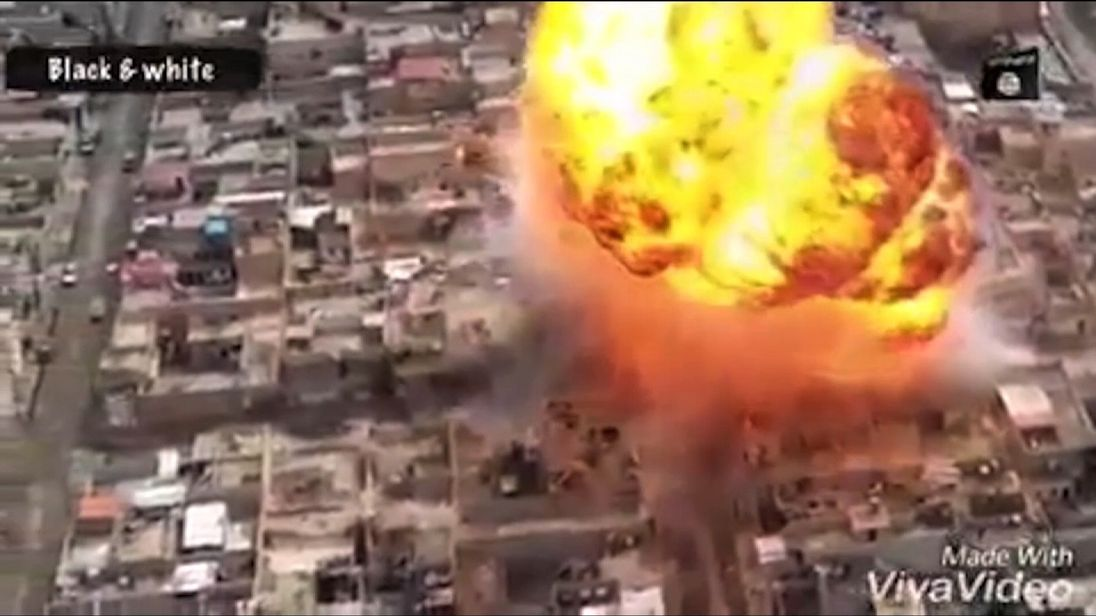 An explosion in Mosul, Iraq