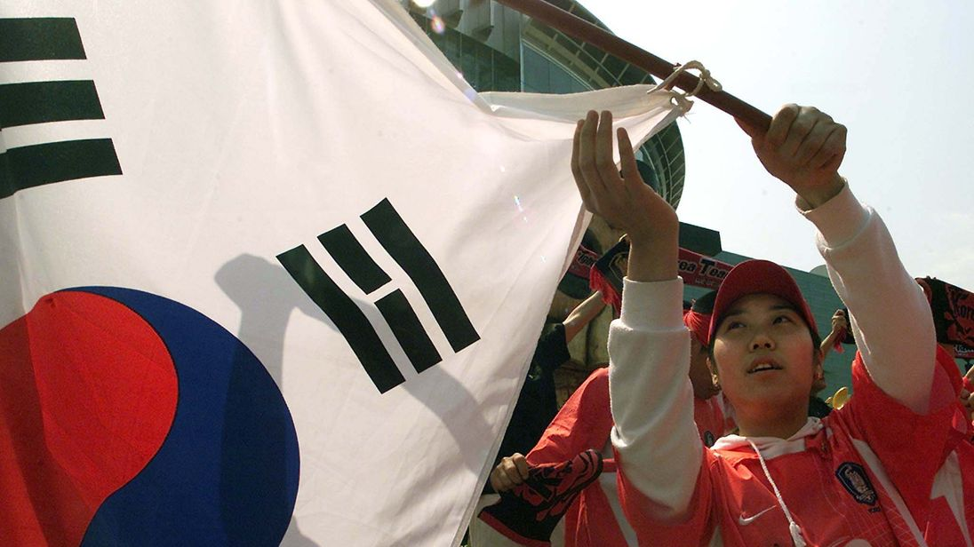 A fan waves a flag during the 2002 World Cup hosted by Japan and South Korea