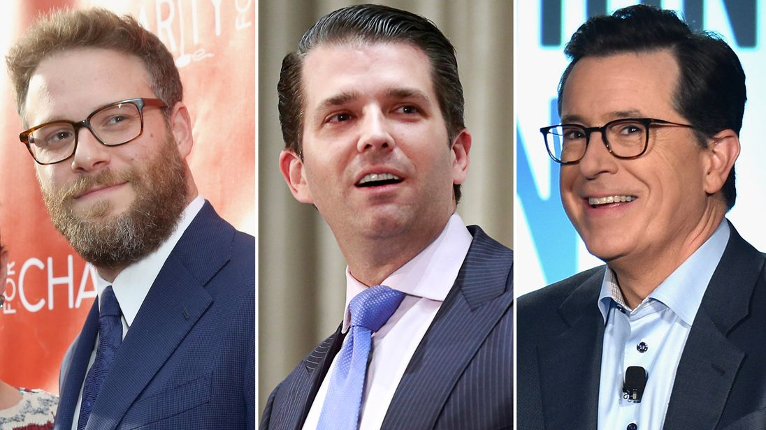 Seth Rogen, Donald Trump Jr and Stephen Colbert